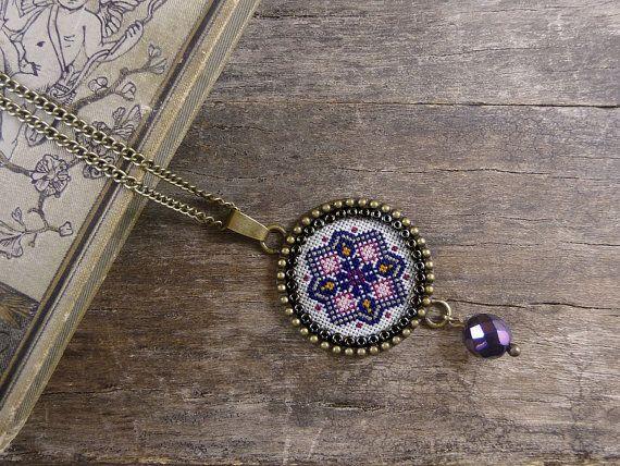 Cross stitch necklace, Cross stitch jewelry, Cross stitch pendant, Geometric embroidered necklace,  Magenta navy blue embroidery necklace