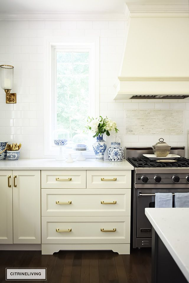 Our Kitchen Updates Brass Hardware Pulls And Faucet Ivory