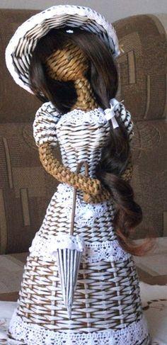 ПЛЕТЕНАЯ КУКЛА ИЗ ГАЗЕТ. МАСТЕР-КЛАСС - Уроки по плетению - Плетение из газет…