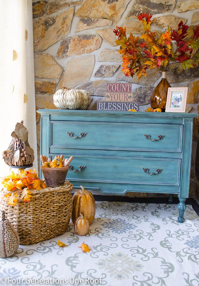 House of Turquoise: Turquoise Fall Decor + Velvet Pumpkin Giveaway!