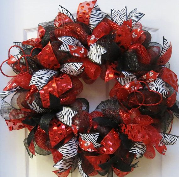 This Valentines wreath is handcrafted with three different ...
