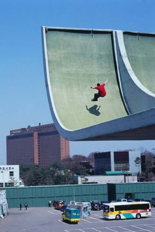 Unique skateboarding location