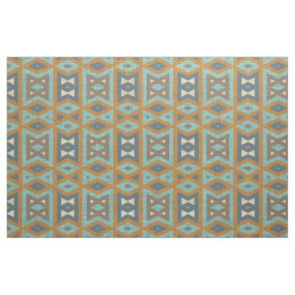 Teal Turquoise Orange Brown Eclectic Ethnic Look Fabric - pattern sample design template diy cyo customize