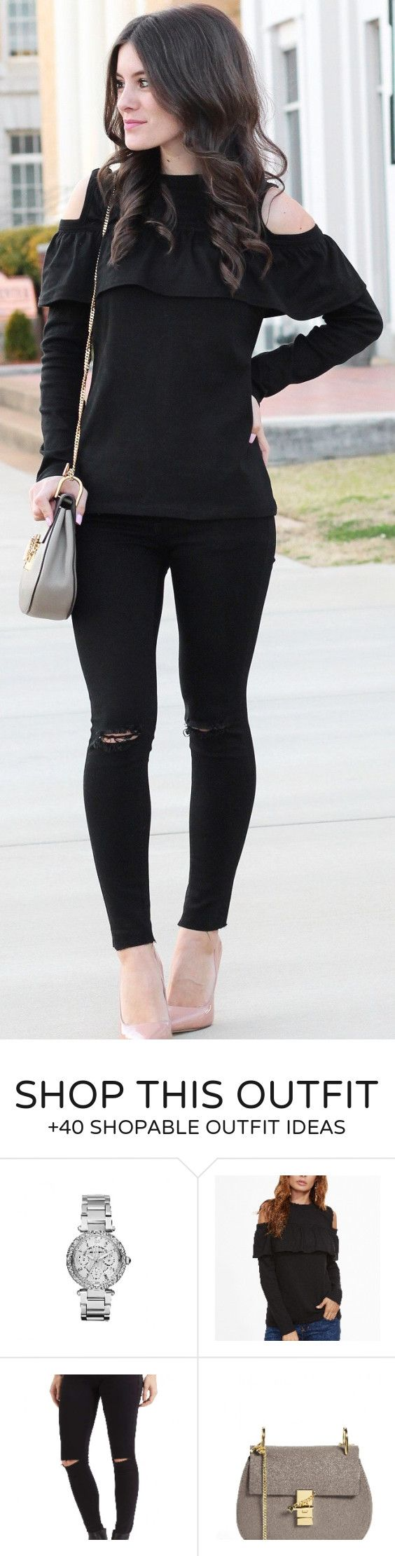 #winter #fashion /  Black Open Shoulder Knit / Nude Pumps / Rippped Skinny Jeans