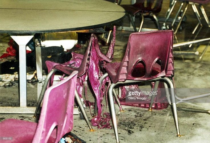 The cafeteria after the wake of bombs and bullets from the Columbine High School massacre April 20, 1999 in Littleton, CO. The photographs of the incident were released in a voluminous CD-ROM report May 15, 2000.