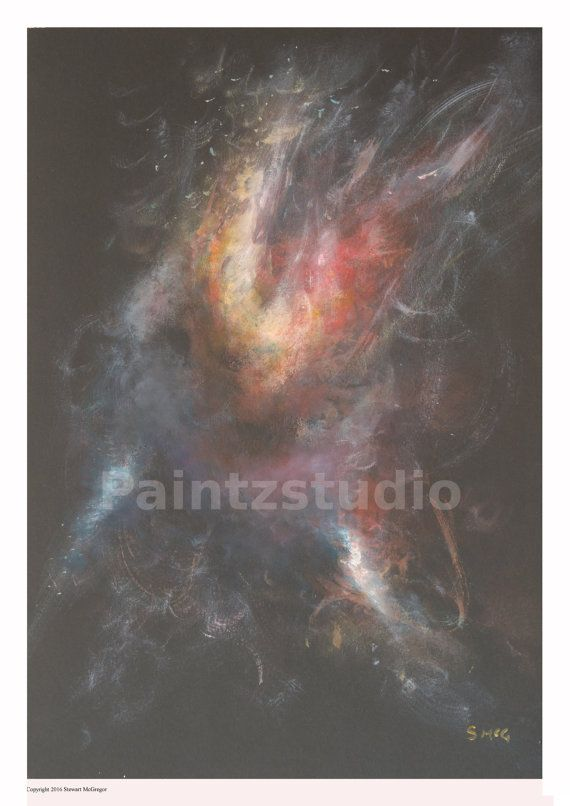 Abstract art paunting print nightlife stars colour by Paintzstudio