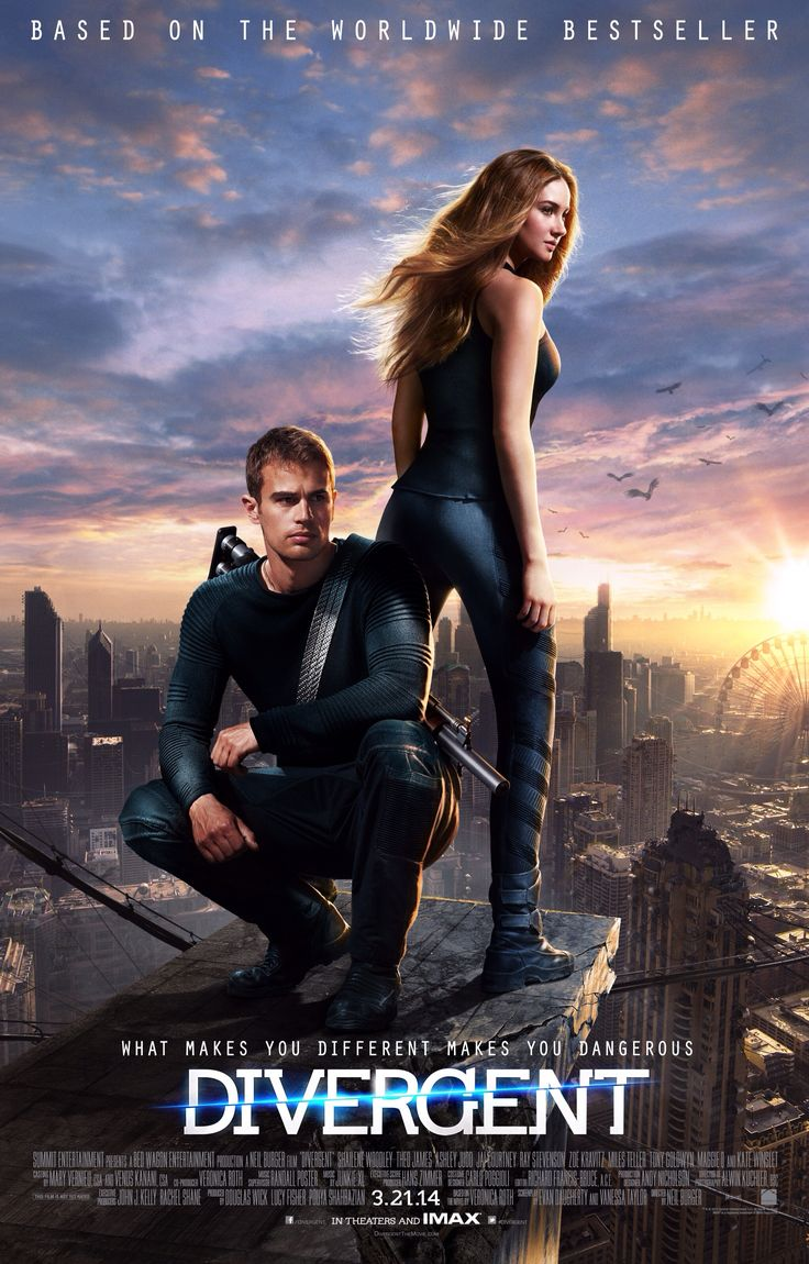 Divergent | Directed by Neil Burger | With Shailene Woodley, Theo James, Kate Winslet, Jai Courtney | In a world divided by factions based on virtues, Tris learns she's Divergent and won't fit in. When she discovers a plot to destroy Divergents, Tris and the mysterious Four must find out what makes Divergents dangerous before it's too late.