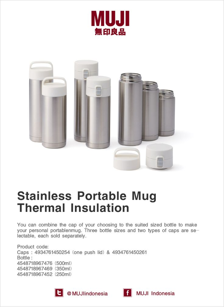 Stainless Portable Mug - You can combine the cap of your choosing to the bottle to make your personal portable mug.