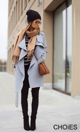 Love Baby Blue + Black! Love this Whole Outfit! Blue Gray Lapel Trench Coat With Belt #Blue #Grey #Trench #Coat #Fall #Winter #Fashion #Ideas