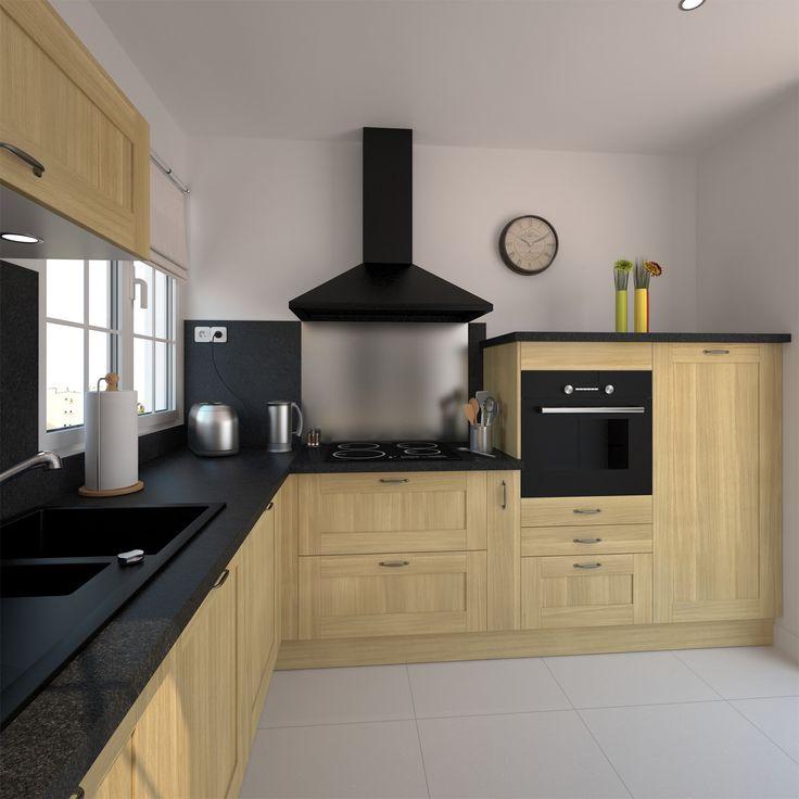 Petite cuisine en bois brut de style classique implantation en l plan de travail et cr dence for Cuisine incorporee