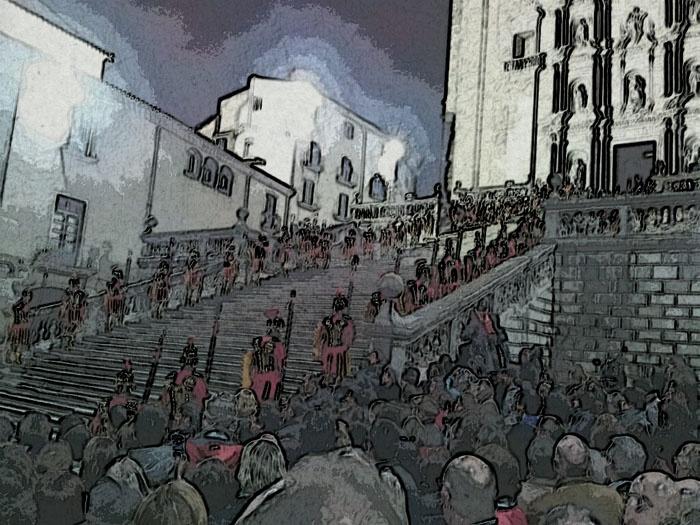 Processó de Girona. Els manaies pujant les escales de la catedral.