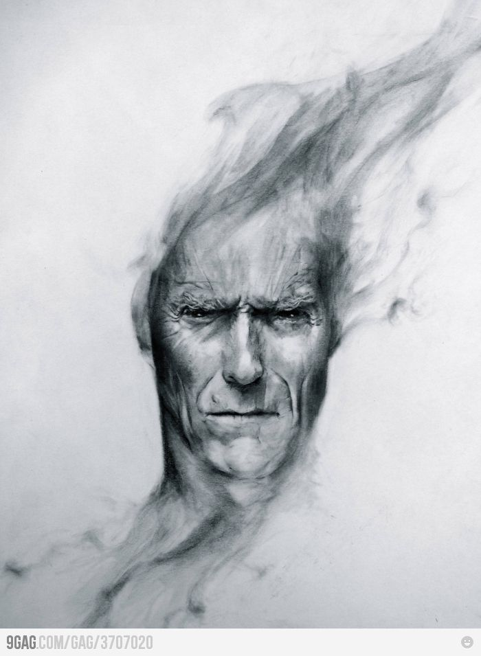 This is awesome! Clint EastwoodThe Artists, Awesome, The Face, Hands Drawing, Portraits, Painting, Hands Drawn, Popular Pin, Clint Eastwood