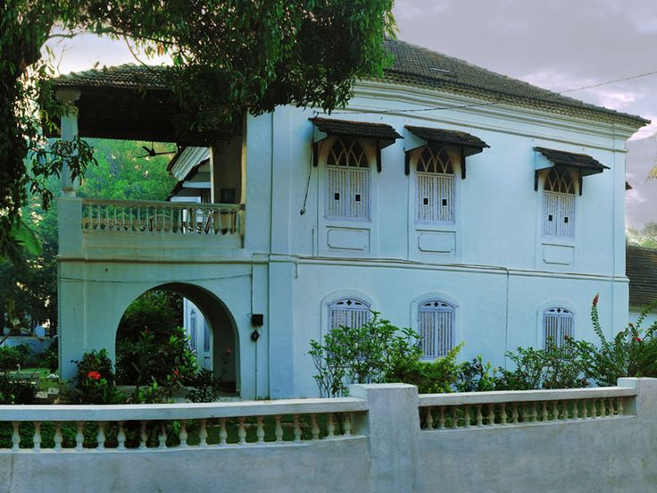 White house at Saligao, North Goa; Built in 17th century. This rendering in white is the result of the unwritten rule during the Portuguese occupation of Goa that no private house or building could be painted in white. Only churches and chapels enjoyed this privilege. However, this was not completely a matter of individual choice, since during Portuguese rule the owner of the house could be fined if his house was not painted.