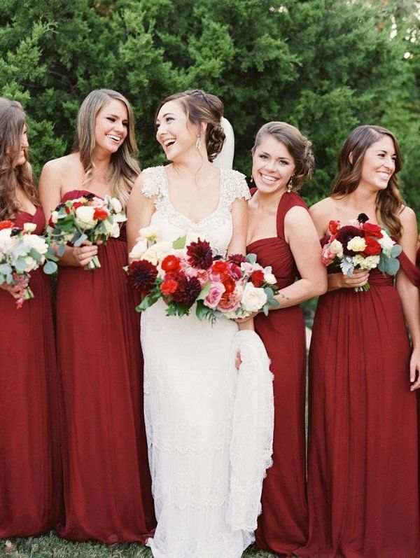 Burgundy Bridesmaids Dresses | photography by http://www.tracyenochphotography.com