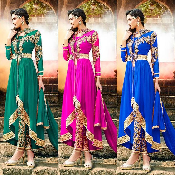 NEW ARRIVAL: Check out the 3 newly launched colors in our #GoldEmbroidered Pant Style #Anarkali series - Green, Pink & Blue - available for $175 USD including stitching + worldwide shipping at #Lashkaraa.com