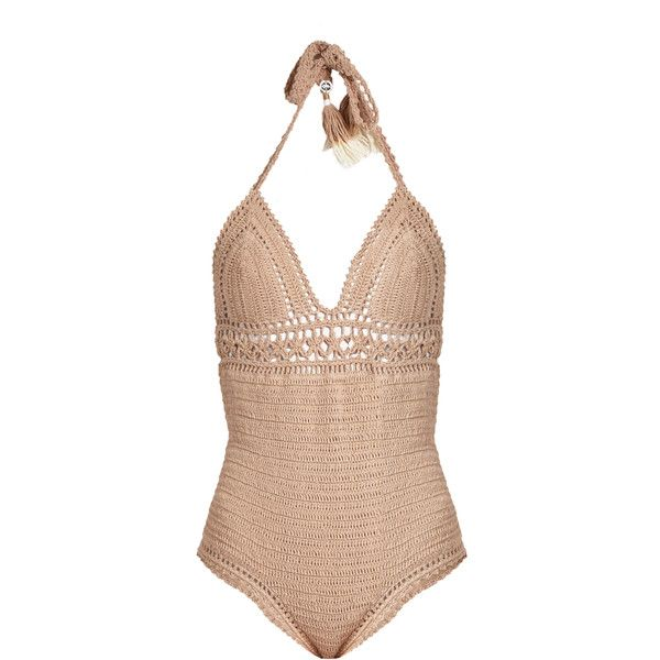 She Made Me Farah halterneck crochet swimsuit ($191) ❤ liked on Polyvore featuring swimwear, one-piece swimsuits, beige, halter bathing suit tops, halter neck swimsuit, v neck one piece swimsuit, one piece swimsuit and swimsuit swimwear