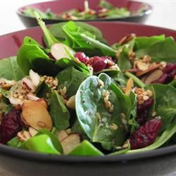 Jamie's Cranberry Spinach Salad Reduce sugar to 1/4 cup, dry roast almonds, add feta cheese. Yum!!!