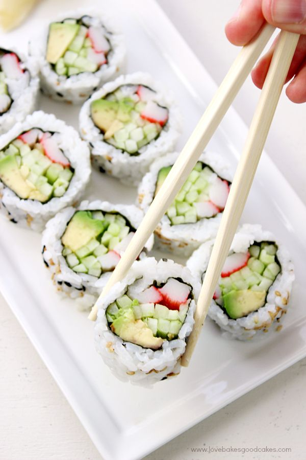 It's easy to make your own California Roll at home! California Rolls contain crab, avocado and cucumber for a fresh and delicious meal or appetizer idea!