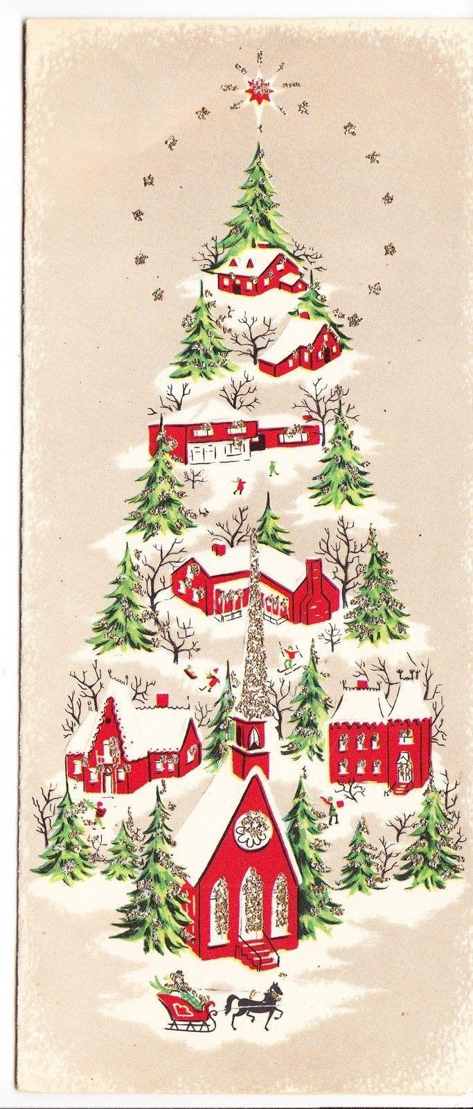 Vintage Glittered Village in Shape of Christmas Tree Greeting Card | eBay
