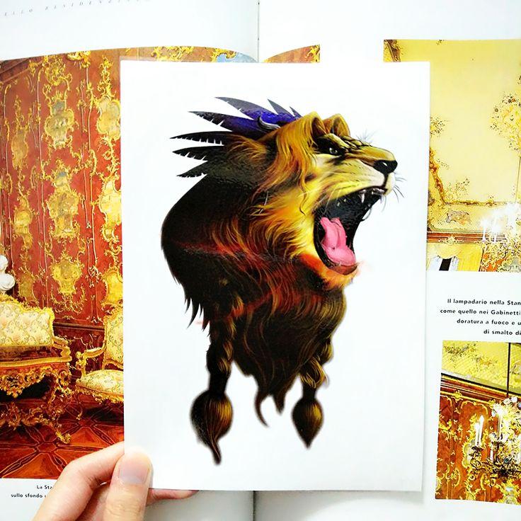 Король лев временные татуировки боди-арт флэш-тату наклейки 21 * 15 см водонепроницаемый тату стайлинга автомобилей домашнего декора стикера стены
