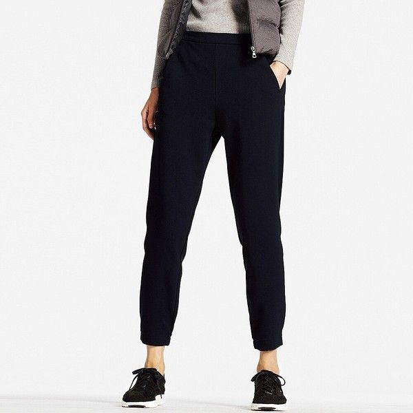 UNIQLO Ponte Jogger Trousers ($32) ❤ liked on Polyvore featuring pants, capris, white ponte pants, uniqlo pants, ponte pants, cuff pants and tapered jogger pants