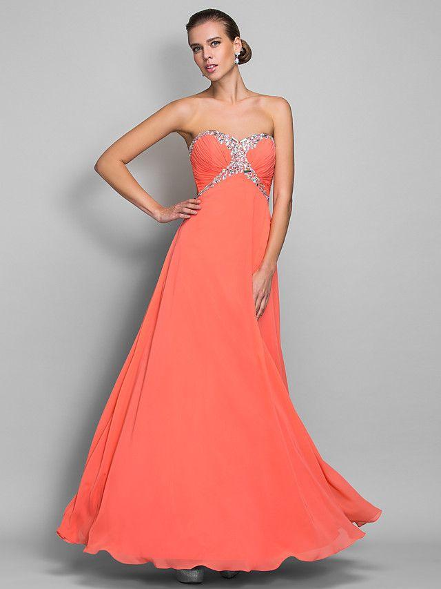 linie miláček podlahy Délka šifónové večerní / plesové šaty (699401) - USD $97.49