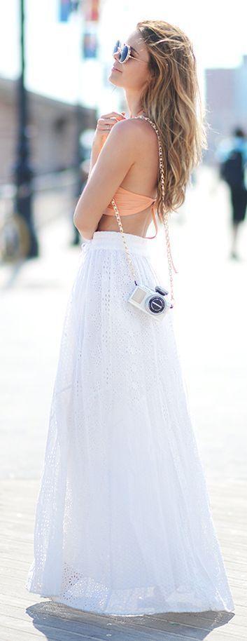 #summer #fashion / crop top + crochet maxi skirt