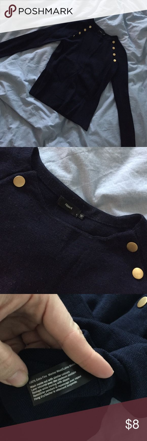 Filippa K navy blue merino sweater. Size S Swedish designer brand Filippa K. Used a couple of times but has a 5*10 mm hole in the back. Filippa K Sweaters Crew & Scoop Necks