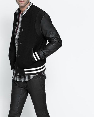 Image 5 of JACKET WITH CONTRASTING SLEEVES from Zara