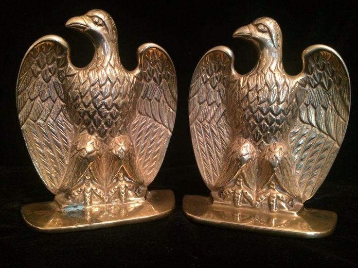 Vintage Brass Bald Eagle Bookends