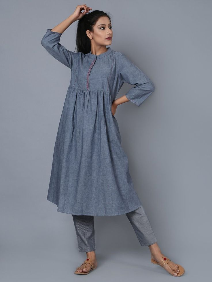Grey Cotton Embroidered Kurta