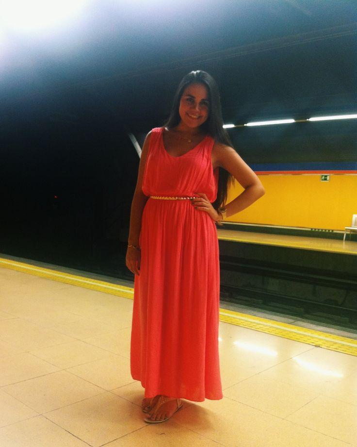 Long hair, Pink maxi dress, gold, me.  #LongHair #Maxidress #Gold