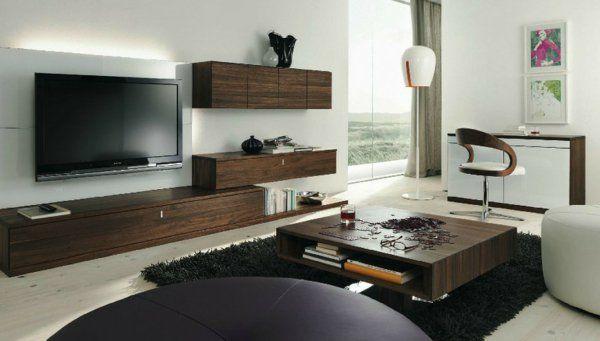 meuble suspendu de salon, bahuts suspendus en bois foncé et un tv suspendu