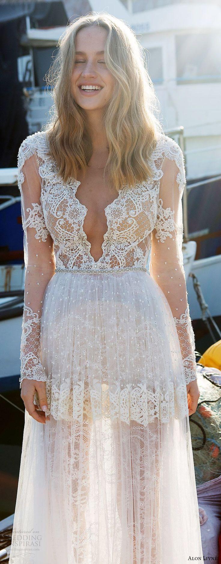 alon livne white pre 2018 bridal illusion long sleeves deep v neck sheer bodice lace a line wedding dress (kelly) zfv boho romantic -- Alon Livne White 2017-2018 Wedding Dresses
