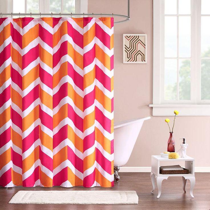 Mi Zone Jessie Fabric Shower Curtain, Pink