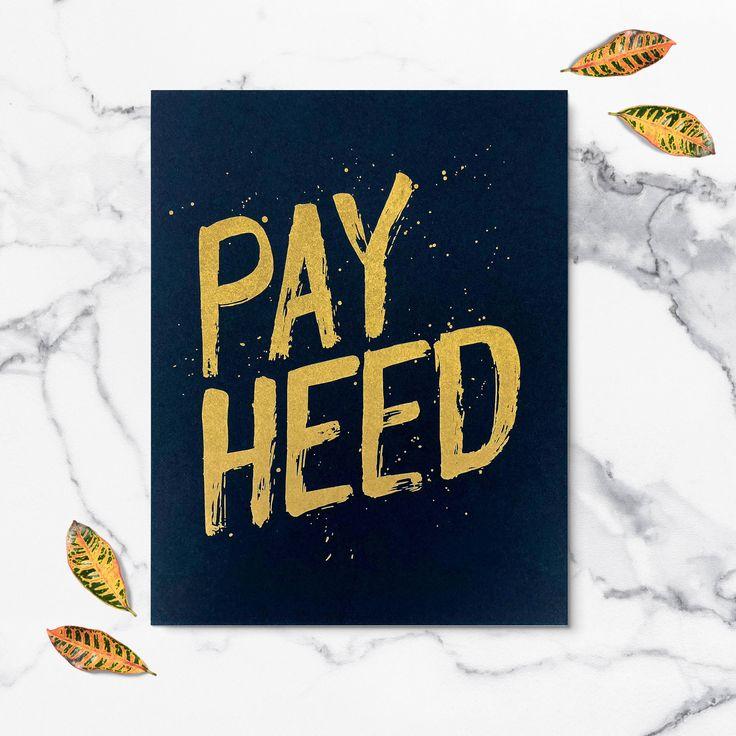 Excited to share the latest addition to my #etsy shop: Pay Heed   Rock Chalk Jayhawk   University of Kansas   KU   KU Print   Kansas Jayhawks   Dorm Room Decor   Kansas   Wall art   Dorm room art