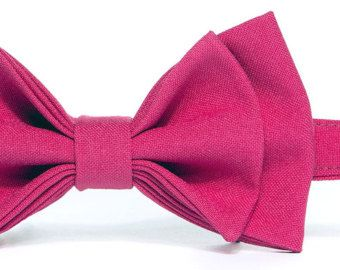 Hot Pink Bow Tie (Fuchsia Bow Tie) & Hot Pink Pocket Square -- Baby Bow Tie, Toddler Bow Tie, Boy Bow Tie, Mens Bow Tie