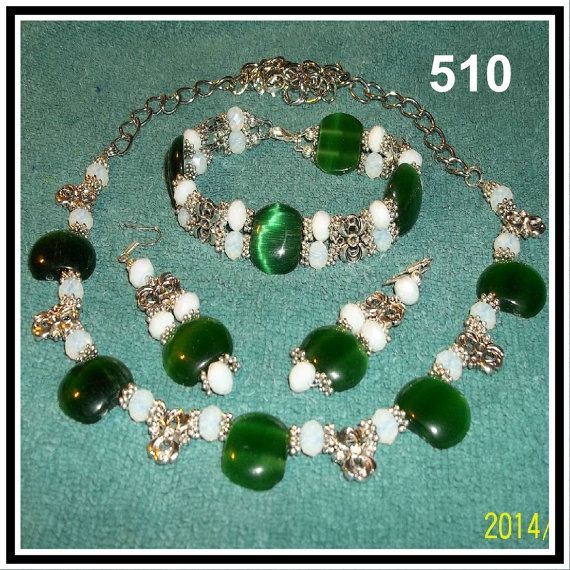3 Pc Set Green Mexican Opals Tibetan Silver & by CrystalsAndLight, $35.00