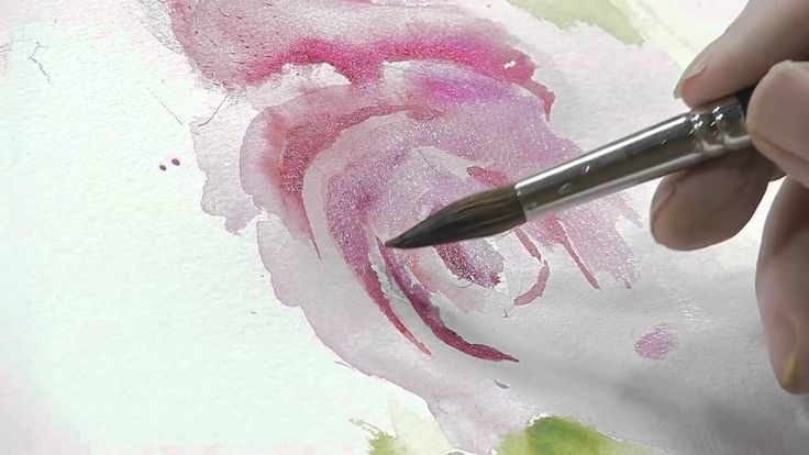 How to Paint a Red Flower with Green Leaves Using Watercolors. This is almost as entertaining as the Joy of Painting...but with watercolors....