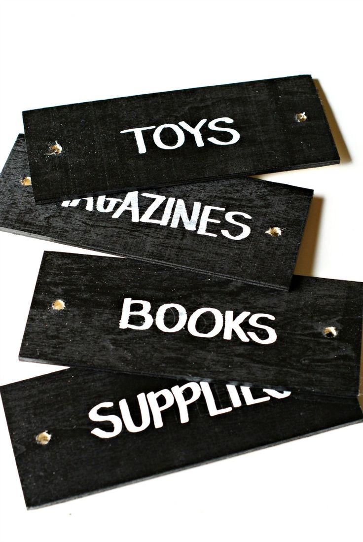DIY wooden labels tags for storage baskets chalkboard