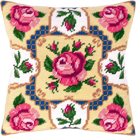 Traditional roses pillowcase cross stitch DIY kit, needlework