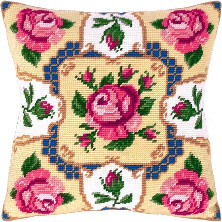 Traditional roses pillowcase cross stitch DIY kit, needlework