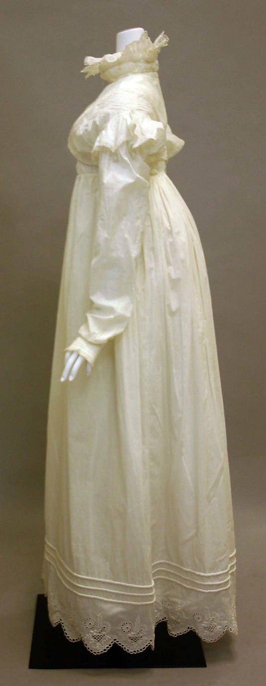 Cotton morning dress ca. 1819, British - in the Metropolitan Museum of Art costume collections.