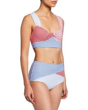 b522f29a2e4 Marysia Sagaponack Check Twist-Front Bikini Top Sagaponack High-Rise Check  Bikini Bottoms