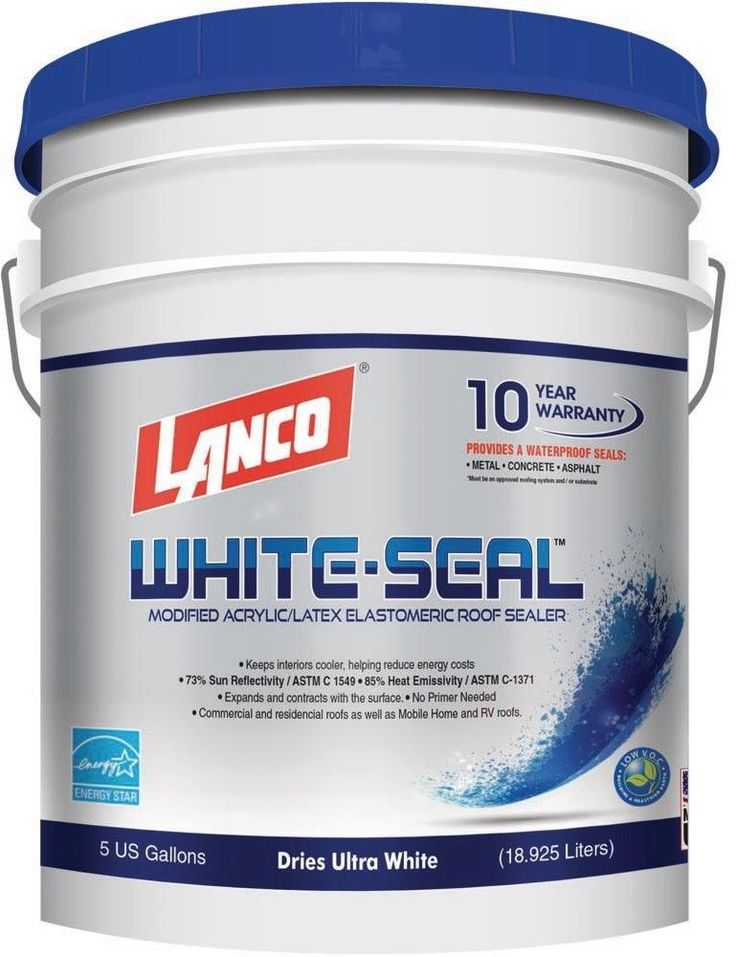 Lanco Elastomeric 5 Gal. White Acrylic Waterproof Reflective Roof Coating #Lanco
