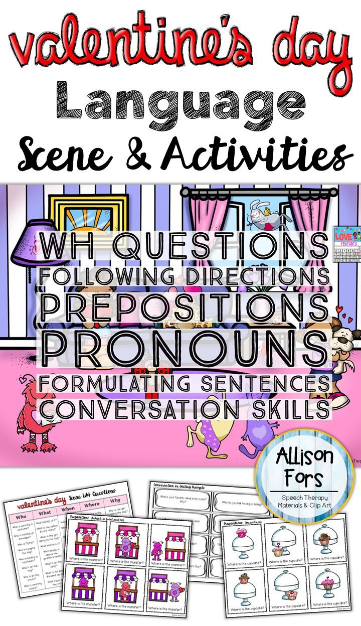 Use this engaging Valentine's Day themed scene & corresponding activities to in speech therapy to target the following concepts: - WH Questions - Following directions - Prepositions - Possessive nouns & pronouns, third person pronouns - Answering open-end
