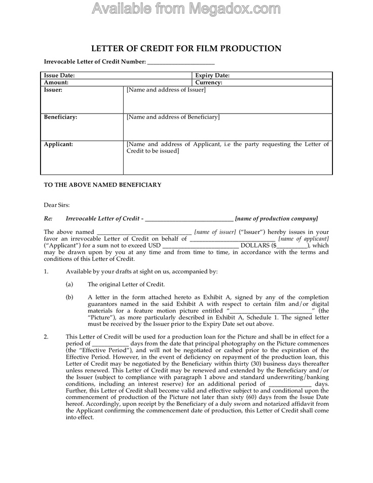 13 best Legal Forms for Filmmakers images on Pinterest Film - letter of credit