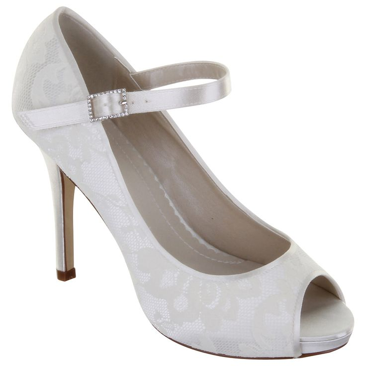 Buy Rainbow Club Nina Lace Platform Peep-Toe Shoes, Ivory online at John Lewis