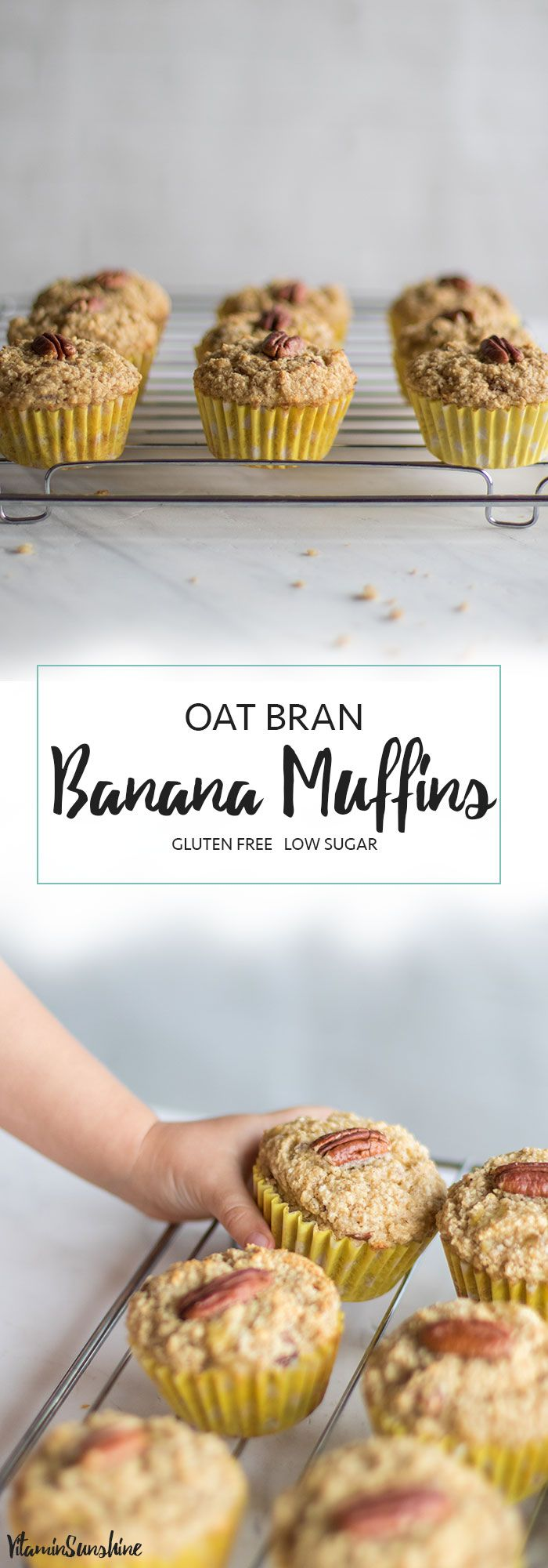 Healthy Banana Nut Muffins / These healthy banana muffins are mostly fruit sweetened, made with oat bran for extra protein and fiber.
