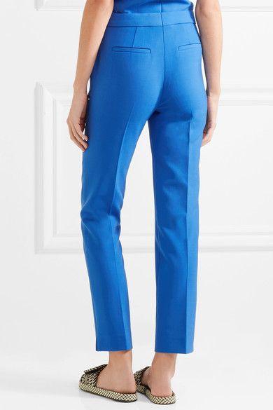 Victoria, Victoria Beckham - Crepe Straight-leg Pants - Bright blue - UK14